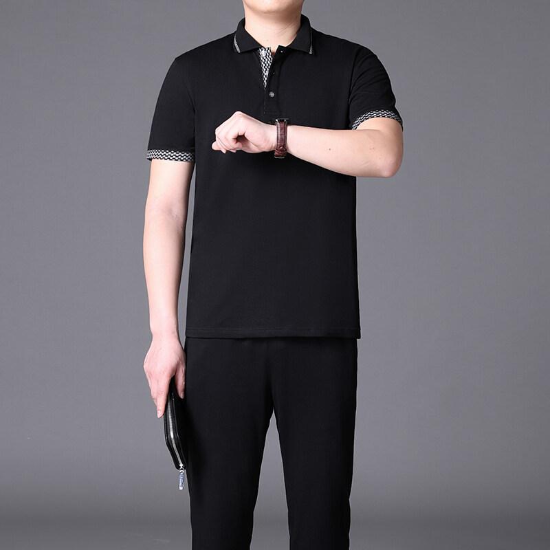 中老年运动套装男POLO衫纯棉短袖t恤休闲两件套爸爸