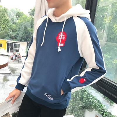 秋季新款男士卫衣休闲潮流青少年长袖上衣韩版拼色宽松外套男