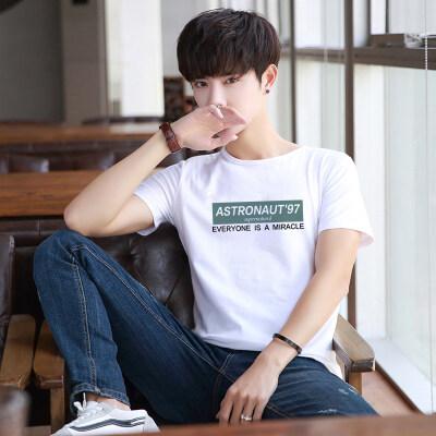 纯棉短袖T恤男夏季新款男士韩版修身圆领印花百搭休闲打底衫潮