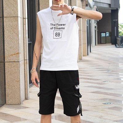 短袖t恤男夏季新款背心一套装男士潮牌薄款宽松无袖体恤运动衣服