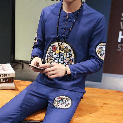 亚麻套装男士夏季长袖T恤棉麻中国风男装唐装刺绣龙袍复古两件套