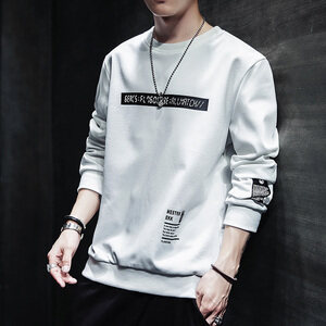 W基地秋季新款圆领休闲韩版个性印花外套卫衣男Y114
