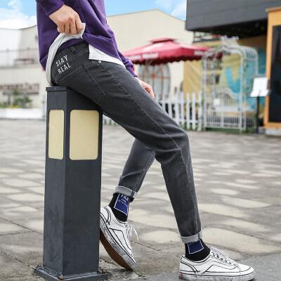 新款男士牛仔裤男秋冬款2019韩版潮流修身显瘦小脚弹力牛仔裤