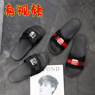 情侣款一字式拖鞋大牌同款时尚潮流韩版外穿百搭男士凉鞋居家外穿