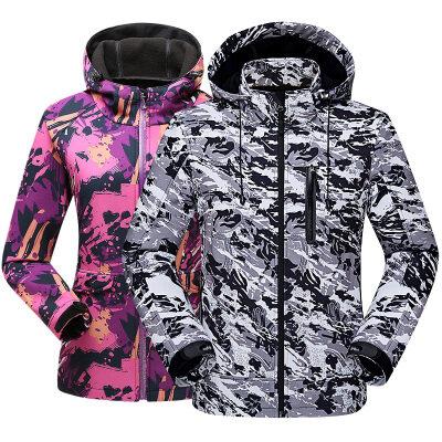 情侣软壳冲锋衣秋冬季户外运动防风防水开衫夹克男户外保暖外套女