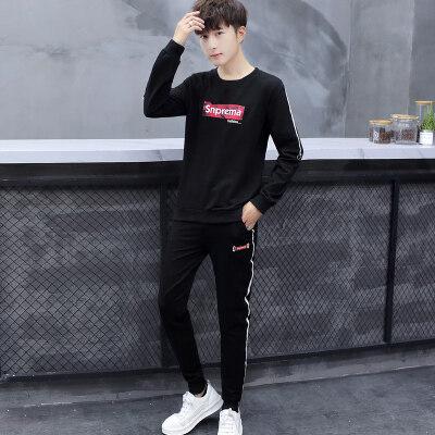 秋季新款长袖T恤套装男韩版潮流修身休闲卫衣长裤两件套衣服