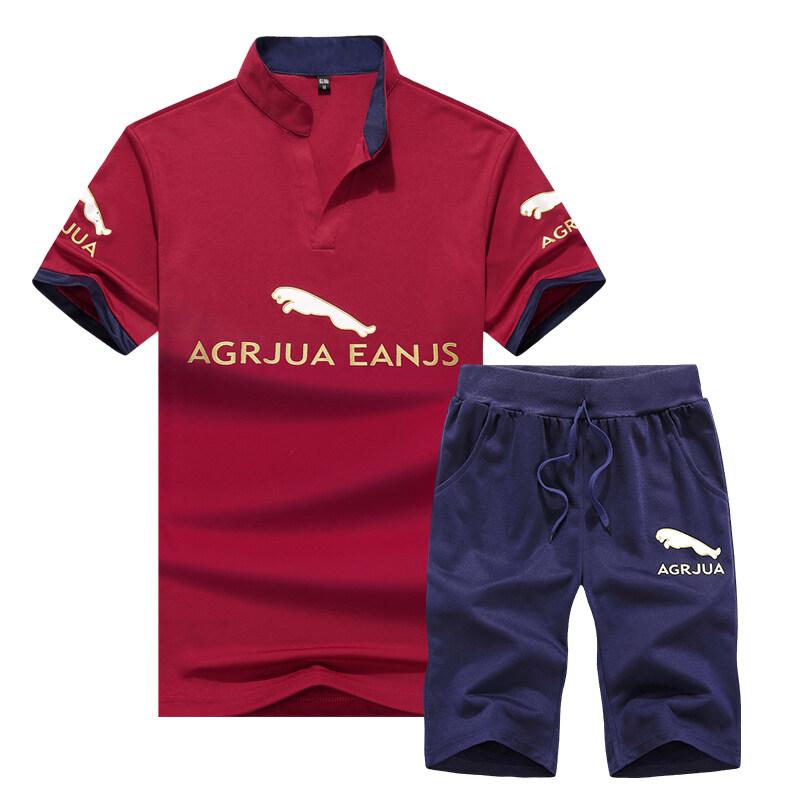 夏季休闲运动套装男韩版立领T恤短裤青少年两件套男装跨境专供
