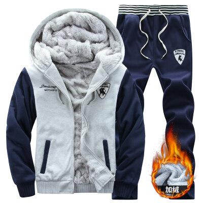 运动套装男冬季两件套2019新款加绒卫衣男式连帽保暖运动服长裤