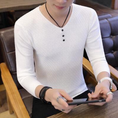 男士毛衣男春秋季新款休闲V领针织衫韩版潮流个性帅气805