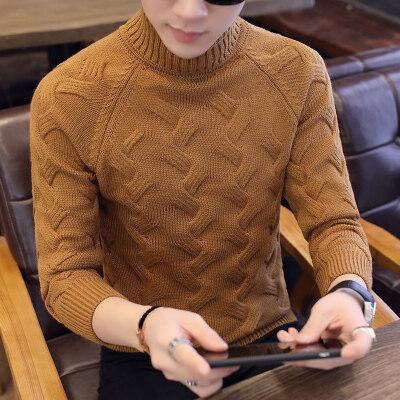 秋冬季毛衣男韩版修身男士高领针织衫潮流青年羊毛衫男线衣938