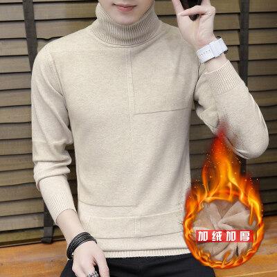 毛衣男士秋季韩版潮流高领线衣男秋冬装个性针织衫加绒888毛衣