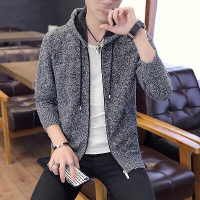 男士毛衣男春秋季休闲针织衫韩版潮流个性帅气873连帽毛衣