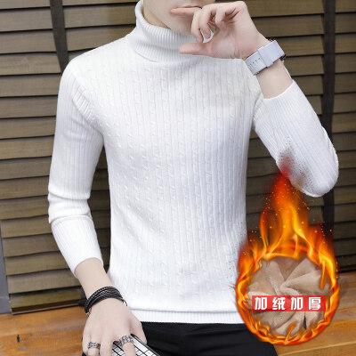 毛衣男士秋季韩版潮流高领线衣男秋冬装个性针织衫加绒887毛衣