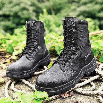 军靴男户外飞行靴子钢头防砸劳保鞋放穿刺钢板作战靴子
