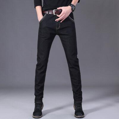 男士牛仔裤弹力款修身小脚裤韩版潮流黑色休闲长裤子高弹力显瘦