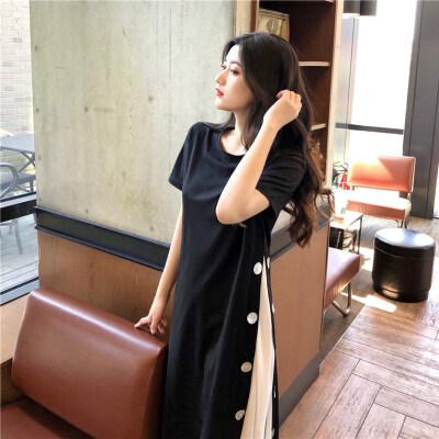 7598#(实拍实价)设计感开叉排扣连衣裙