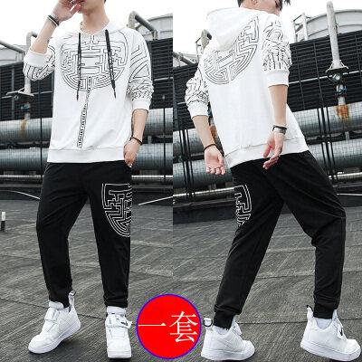 青少年卫衣套装男春秋韩版潮流帅气高中学生连帽运动套装男两件套