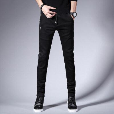 秋冬季黑色裤子男牛仔裤修身小脚裤男士韩版潮流休闲直筒长裤