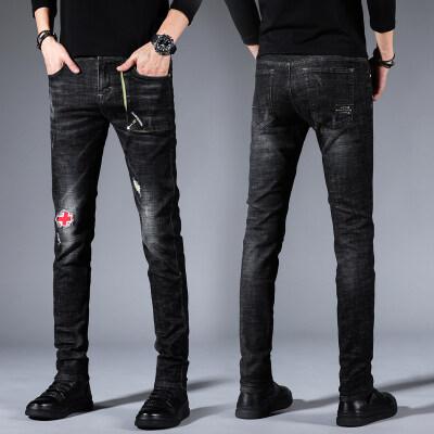 牛仔裤男修身男士牛仔裤秋季新款男士牛仔裤小脚弹力长裤