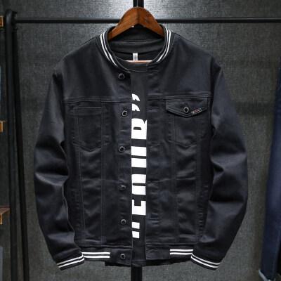 潮牌牛仔外套男士秋冬季宽松薄款黑色罗纹袖口牛仔衣学生潮流夹克