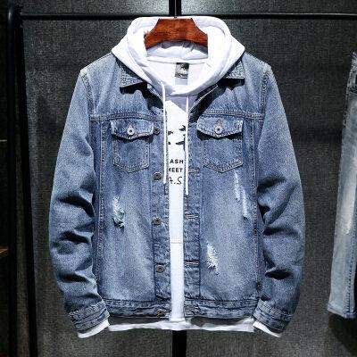 秋季新款牛仔衣韩版破洞潮流夹克宽松帅气休闲外套