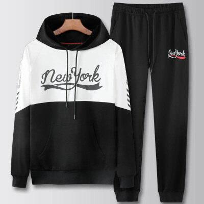 卫衣男套装潮流韩版休闲外套秋冬款男士跑步休闲运动服两件套
