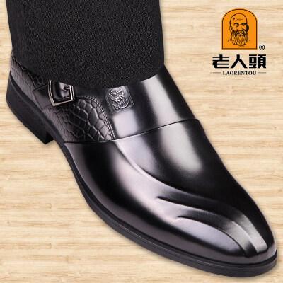 老人头皮鞋男士夏季商务正装 真皮英伦套脚青年男鞋 头层牛皮婚