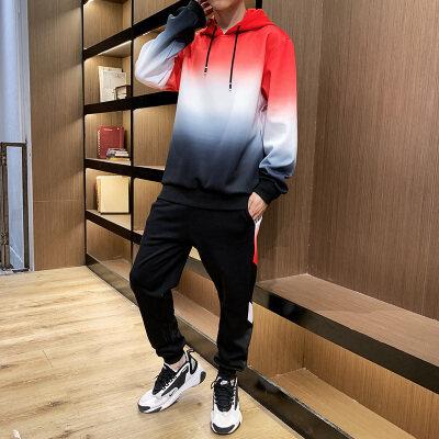 秋季新款男士运动休闲套装长袖长裤扎染卫衣两件套青少年学生套装