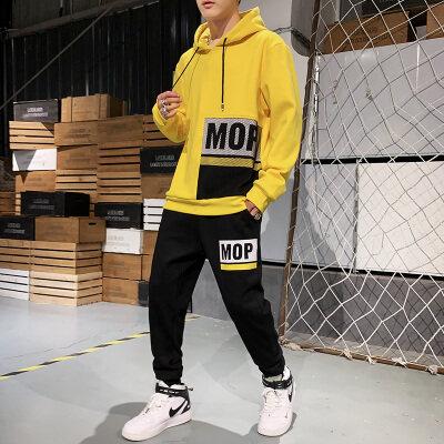 2019秋季新款男两件套男士休闲运动服套装男式卫衣潮