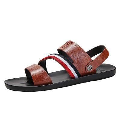 2019夏季新款个性软底拖鞋男士沙滩防滑人字拖时尚开车外穿皮凉鞋