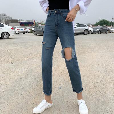 实拍实价2019夏季新款韩版不规则破洞直筒九分牛仔裤女潮
