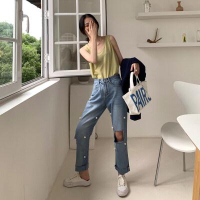 实拍实价2019韩版夏季高腰不规则破洞直筒裤女学生钉珠九分裤潮