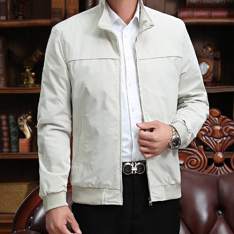 中老年夹克 中老年秋款男士夹克立领夹克男士商务夹克爸爸装夹克