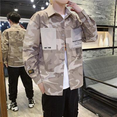 衬衫男士秋季韩版潮流帅气长袖衬衣服休闲半袖上衣短袖工装外套