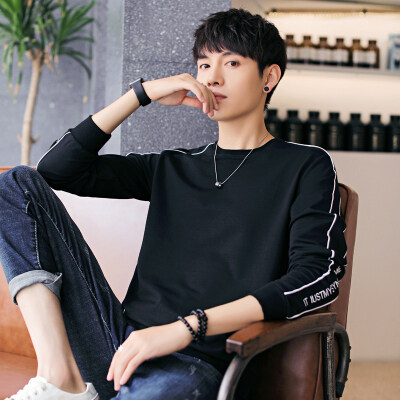 2019春秋款男士长袖绣花卫衣韩版衣服学生圆领上衣潮流打底衫