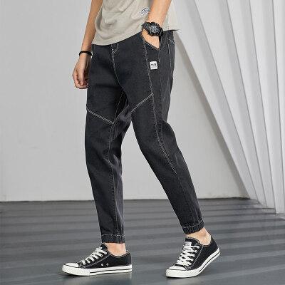 日系大码潮流哈伦工装裤 立体口袋宽松收脚牛仔裤