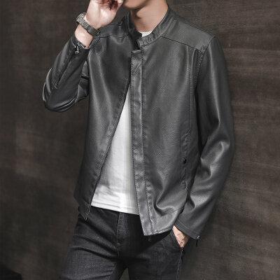 皮衣男2019流行春秋新款男装帅气皮夹克修身潮流韩版冬季外套