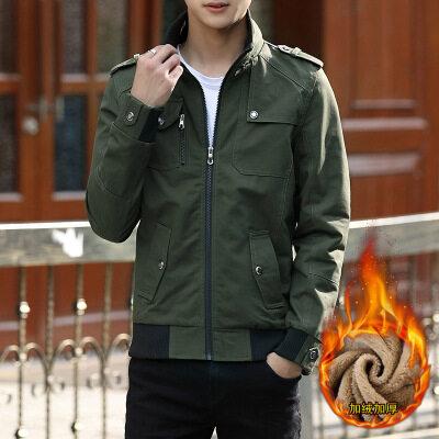 互带2018冬季新款男士加绒水洗夹克 韩版修身男外套 一件代发批发