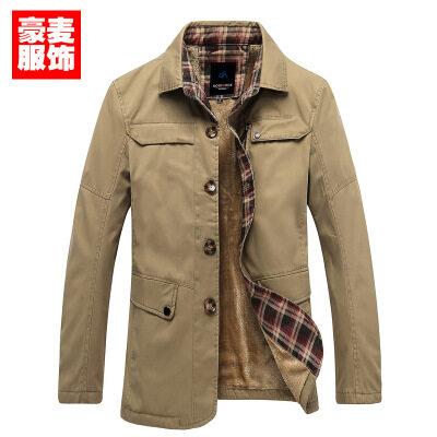 青年男装大衣 男韩版大风衣 纯棉翻领纯色加绒加厚男式风衣 批发