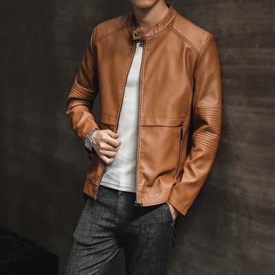 皮衣男青年潮流秋冬季新款修身韩版帅气男士秋装外套皮夹克男