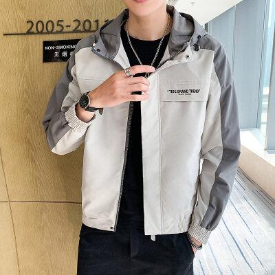 2020新款短款连帽夹克男韩版潮流长袖连帽外套时尚印花上衣服