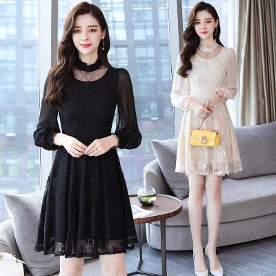 2019女式秋装新款韩版中长款气质淑女长袖拼接秋季蕾丝打底裙