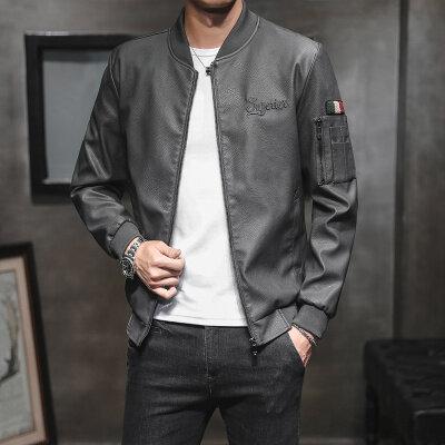 皮衣男外套潮流修身韩版夹克型男薄款秋季2019新款男士机车皮