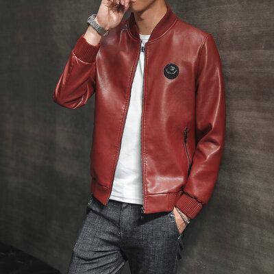 男士皮衣机车外套秋冬季韩版修身潮流帅气时尚男装皮夹克棒球服