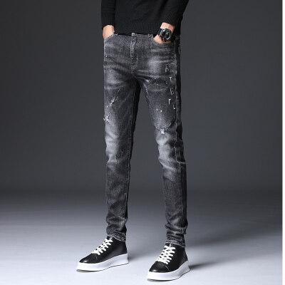 秋季牛仔裤男绣花修身时尚男裤潮款男士裤子黑色小脚裤