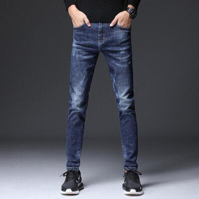 秋季新款蓝色牛仔裤男小脚潮流韩版秋冬款修身男牛仔长裤子