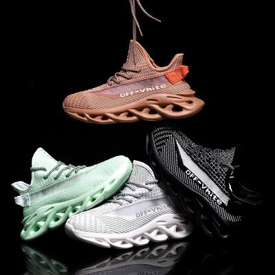 【支持跨境电商】麻花底鞋带发光鱼丝飞织休闲运动跑鞋