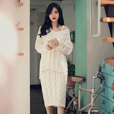 现货针织套装裙子秋冬韩国优雅淑女性感女装显瘦两件套毛衣连衣裙