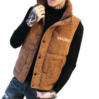秋冬韩版灯芯绒马甲立领无袖外套男修身青年棉马夹厚