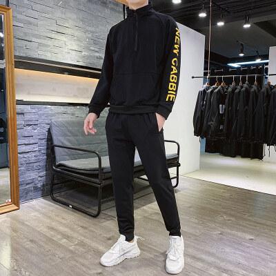 2019秋季新款运动休闲针织套装半拉链港风卫衣长袖长裤两件套